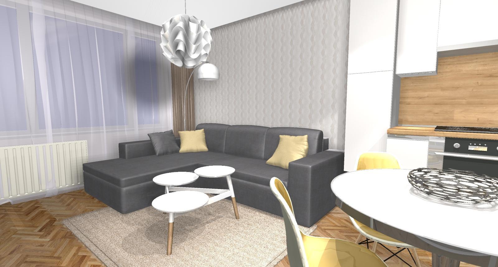 Grafické návrhy bytov - Zariadenie dvojizbového bytu vo Zvolene na Zlatom potoku, ktorý sa prerobí na trojizbový - kuchyňa+obývačka - obr.8