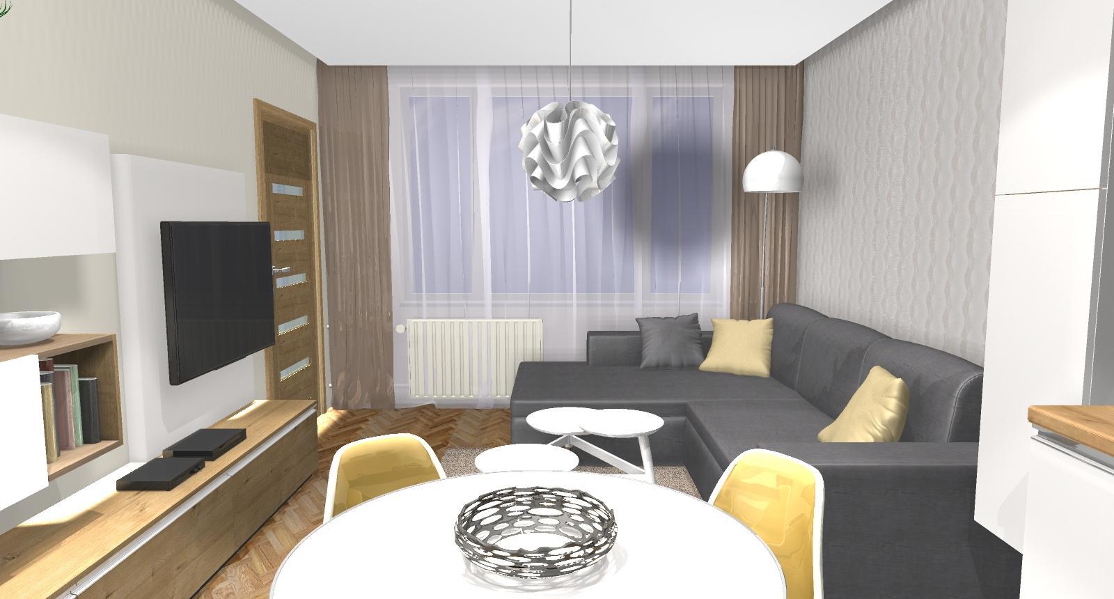 Grafické návrhy bytov - Zariadenie dvojizbového bytu vo Zvolene na Zlatom potoku, ktorý sa prerobí na trojizbový - kuchyňa+obývačka - obr.9