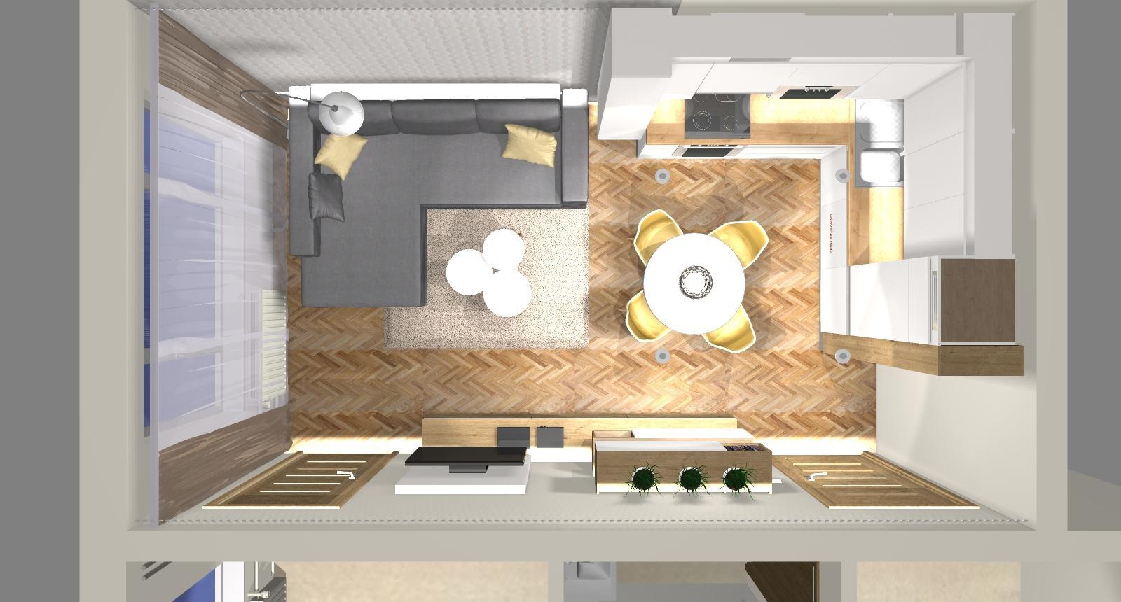 Grafické návrhy bytov - Zariadenie dvojizbového bytu vo Zvolene na Zlatom potoku, ktorý sa prerobí na trojizbový - kuchyňa+obývačka - obr.10