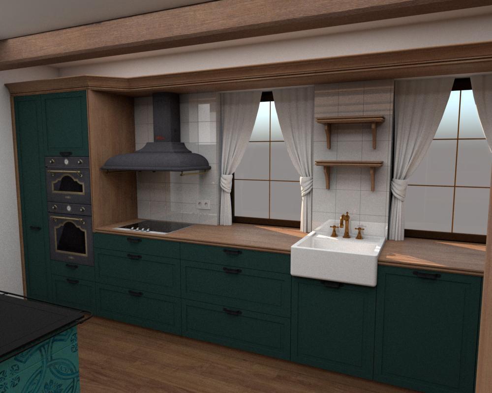 Rôzne verzie jednej kuchyne - Návrh vidieckej kuchyne - verzia 1 obr.1