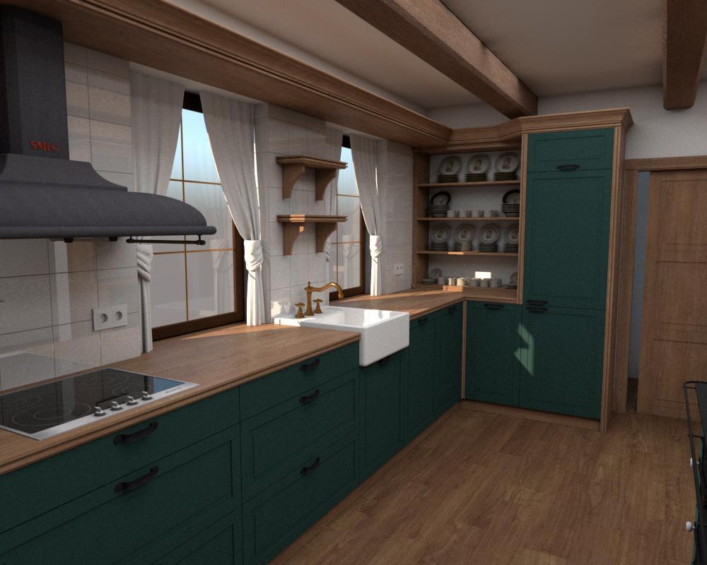 Rôzne verzie jednej kuchyne - Návrh vidieckej kuchyne - verzia 1 obr.2