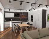 Grafický návrh kuchynskej linky spolu s obývačkou - obr.1