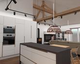 Grafický návrh kuchynskej linky spolu s obývačkou - obr.3