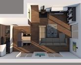 Grafický návrh kuchynskej linky spolu s obývačkou - obr.6