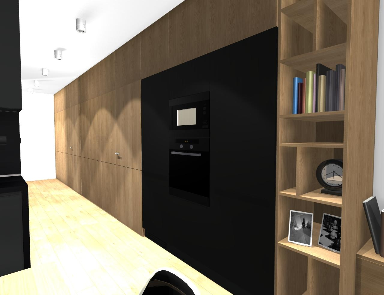 Grafické návrhy bytov - Zariadenie trojizbového bytu v BB - návrh vysokých skríň v prechodovej chodbe - obr.1