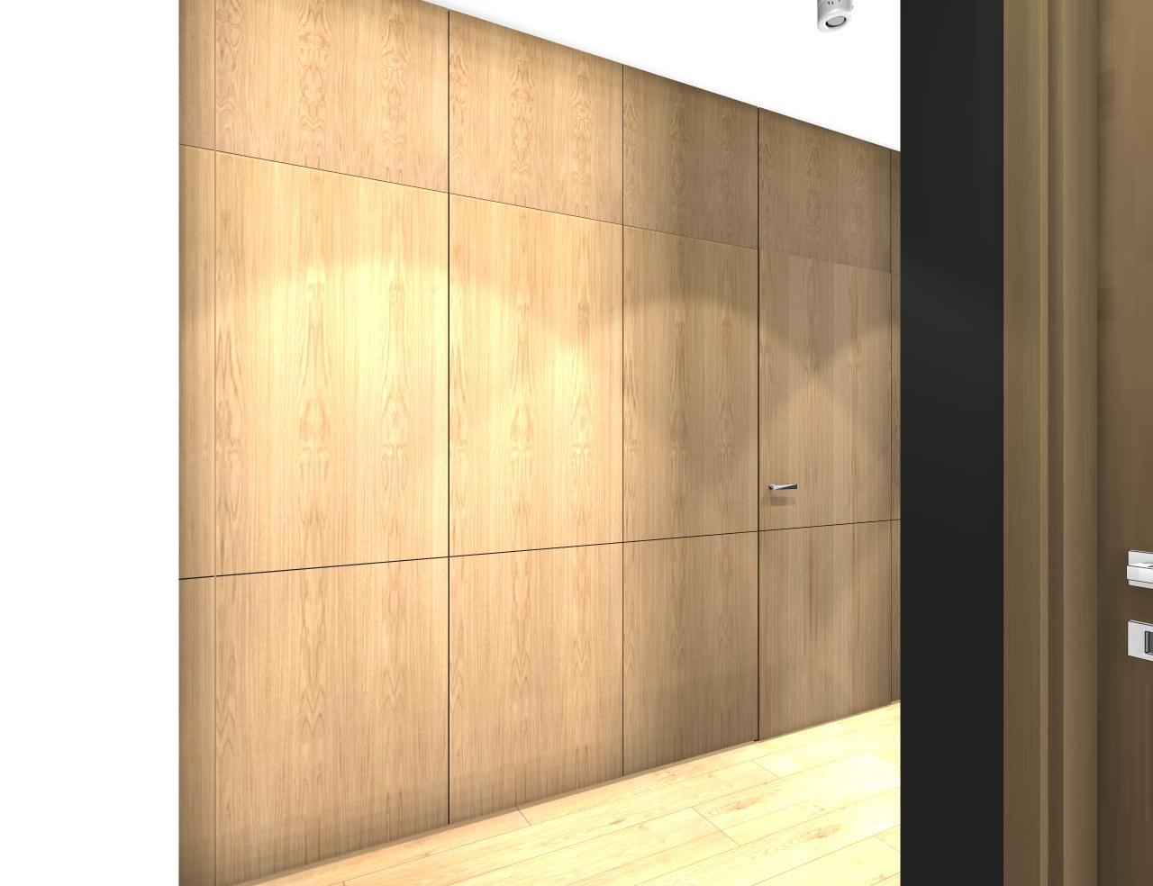 Grafické návrhy bytov - Zariadenie trojizbového bytu v BB - návrh vysokých skríň v prechodovej chodbe - obr.2