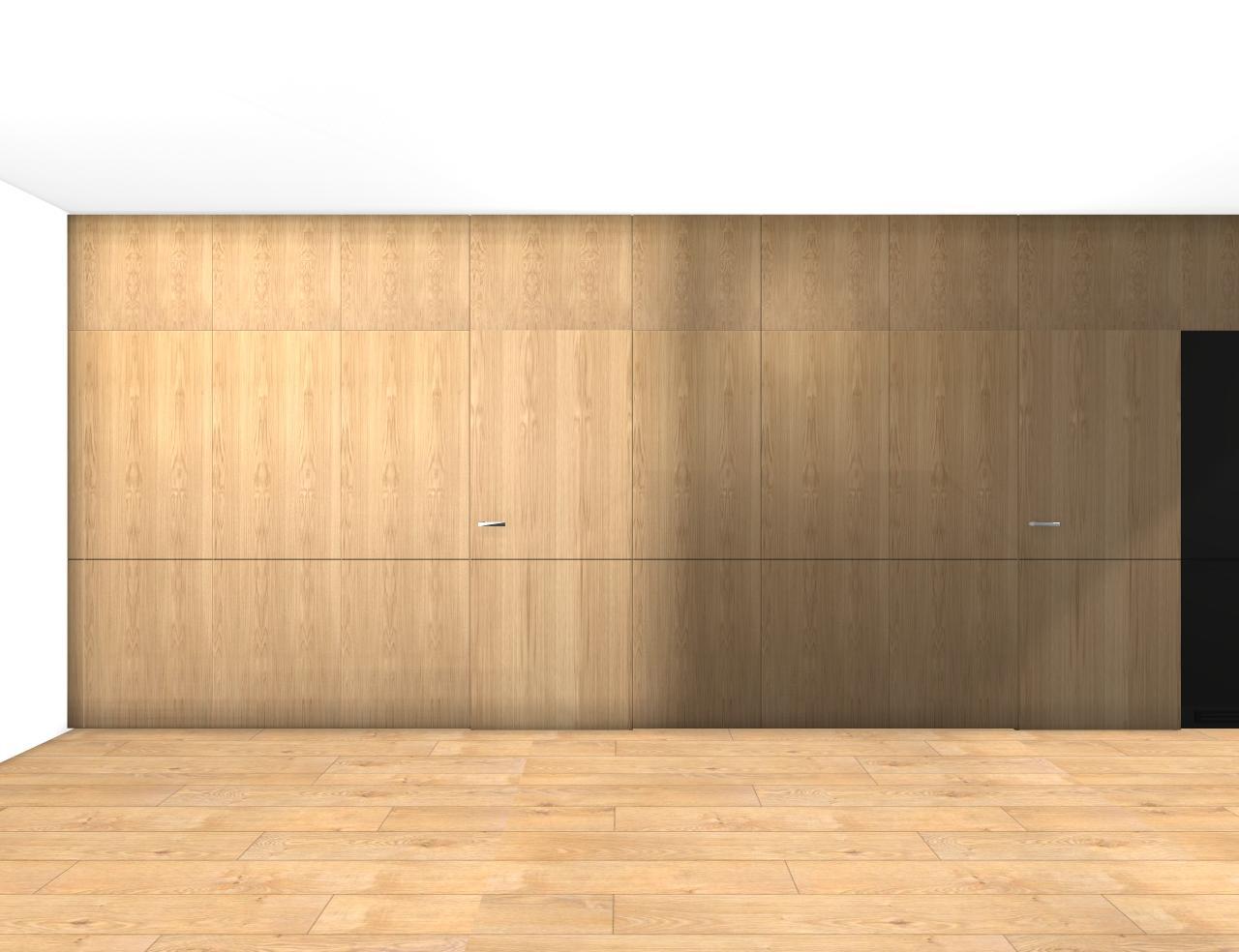 Grafické návrhy bytov - Zariadenie trojizbového bytu v BB - návrh vysokých skríň v prechodovej chodbe - obr.3