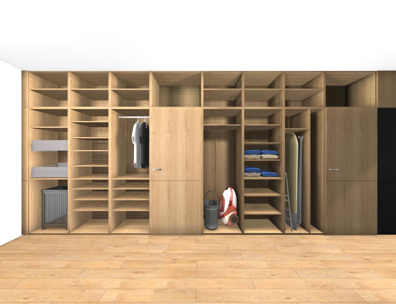 Grafické návrhy bytov - Zariadenie trojizbového bytu v BB - návrh vysokých skríň v prechodovej chodbe - obr.4