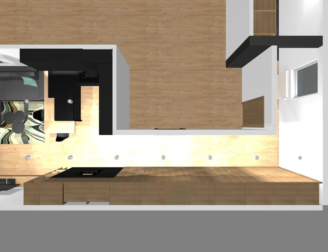 Grafické návrhy bytov - Zariadenie trojizbového bytu v BB - návrh vysokých skríň v prechodovej chodbe - obr.5
