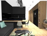 Zariadenie trojizbového bytu v BB - návrh kuchyne spojenej s obývačkou - obr.1