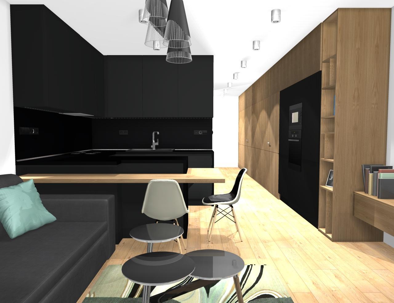 Grafické návrhy bytov - Zariadenie trojizbového bytu v BB - návrh kuchyne spojenej s obývačkou - obr.1