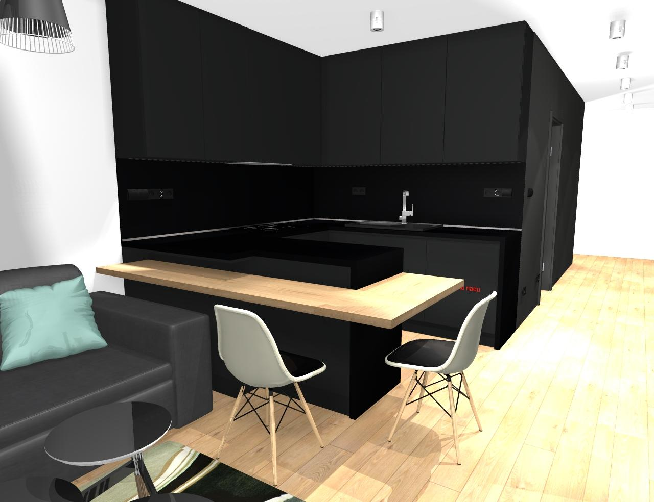 Grafické návrhy bytov - Zariadenie trojizbového bytu v BB - návrh kuchyne spojenej s obývačkou - obr.2