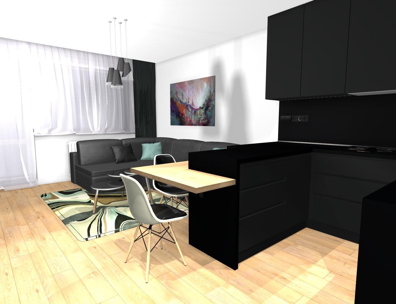 Grafické návrhy bytov - Zariadenie trojizbového bytu v BB - návrh kuchyne spojenej s obývačkou - obr.3