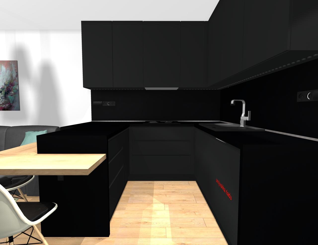 Grafické návrhy bytov - Zariadenie trojizbového bytu v BB - návrh kuchyne spojenej s obývačkou - obr.4