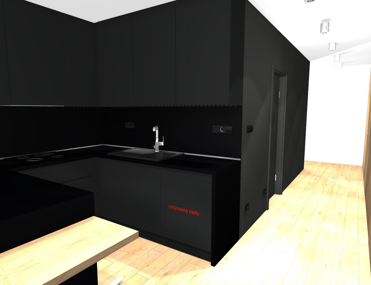Grafické návrhy bytov - Zariadenie trojizbového bytu v BB - návrh kuchyne spojenej s obývačkou - obr.5