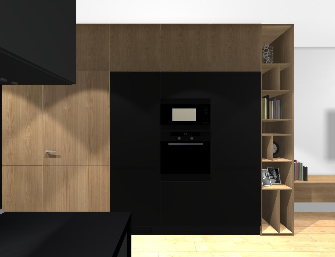 Grafické návrhy bytov - Zariadenie trojizbového bytu v BB - návrh kuchyne spojenej s obývačkou - obr.6