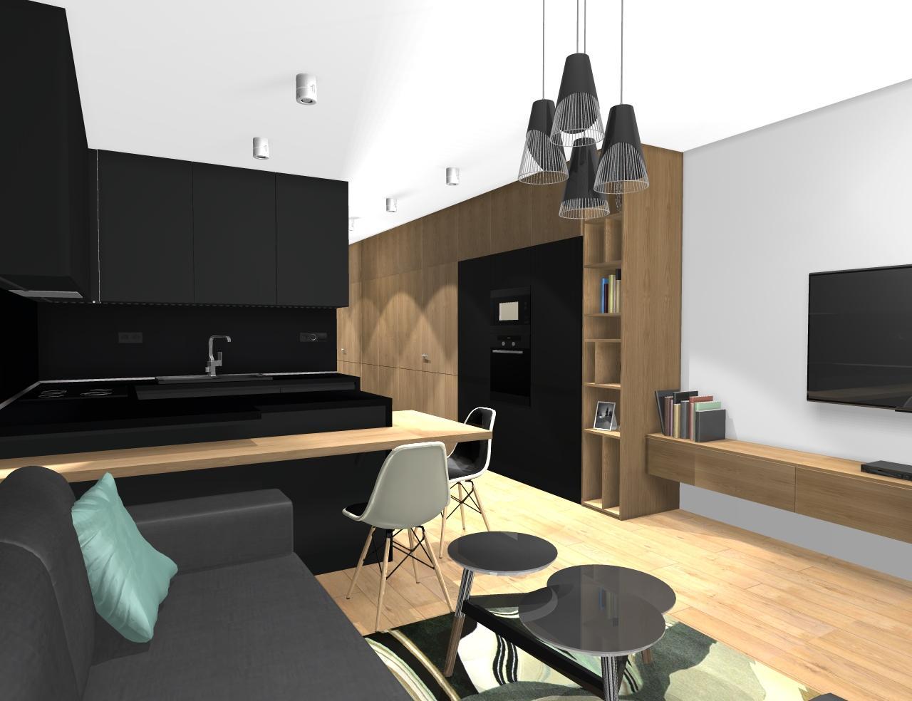 Grafické návrhy bytov - Zariadenie trojizbového bytu v BB - návrh kuchyne spojenej s obývačkou - obr.7