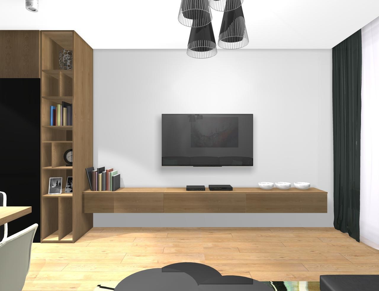 Grafické návrhy bytov - Zariadenie trojizbového bytu v BB - návrh kuchyne spojenej s obývačkou - obr.8