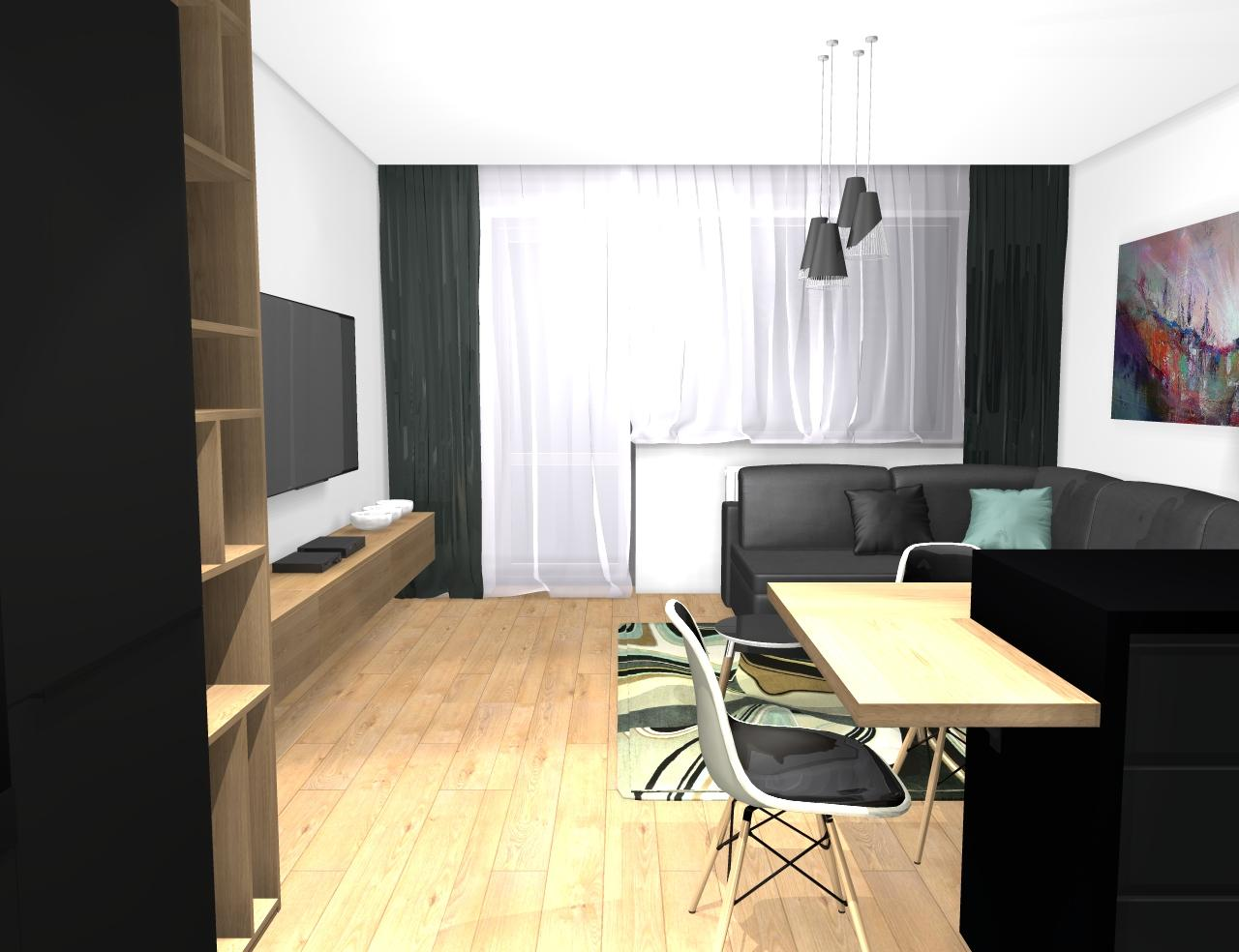 Grafické návrhy bytov - Zariadenie trojizbového bytu v BB - návrh kuchyne spojenej s obývačkou - obr.9