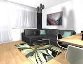 Zariadenie trojizbového bytu v BB - návrh kuchyne spojenej s obývačkou - obr.10
