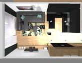 Zariadenie trojizbového bytu v BB - návrh kuchyne spojenej s obývačkou - obr.11