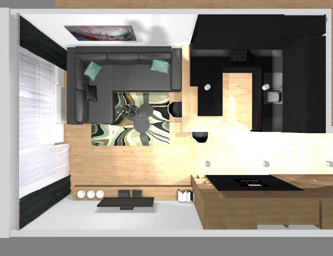 Grafické návrhy bytov - Zariadenie trojizbového bytu v BB - návrh kuchyne spojenej s obývačkou - obr.11