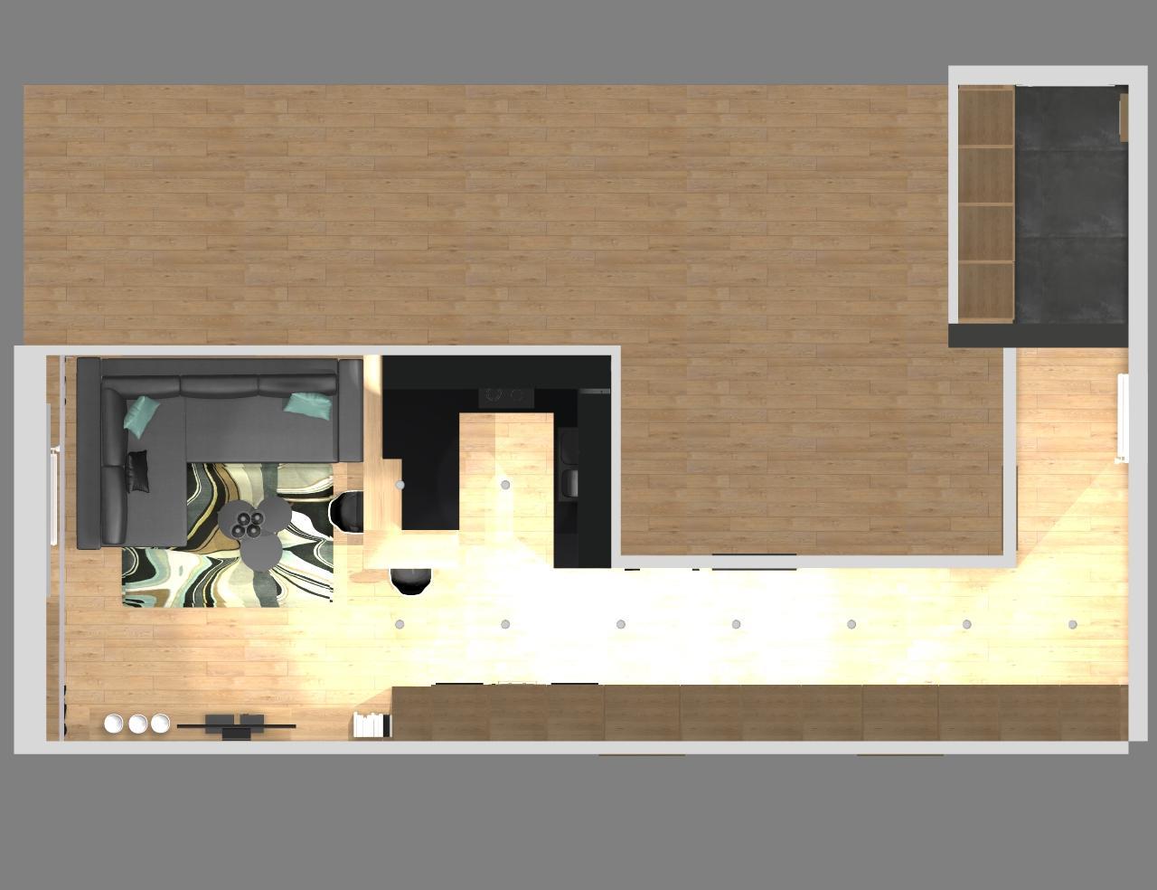 Grafické návrhy bytov - Zariadenie trojizbového bytu v BB - pôdorys kuchyňa s obývačkou, prechodová a vstupná chodba