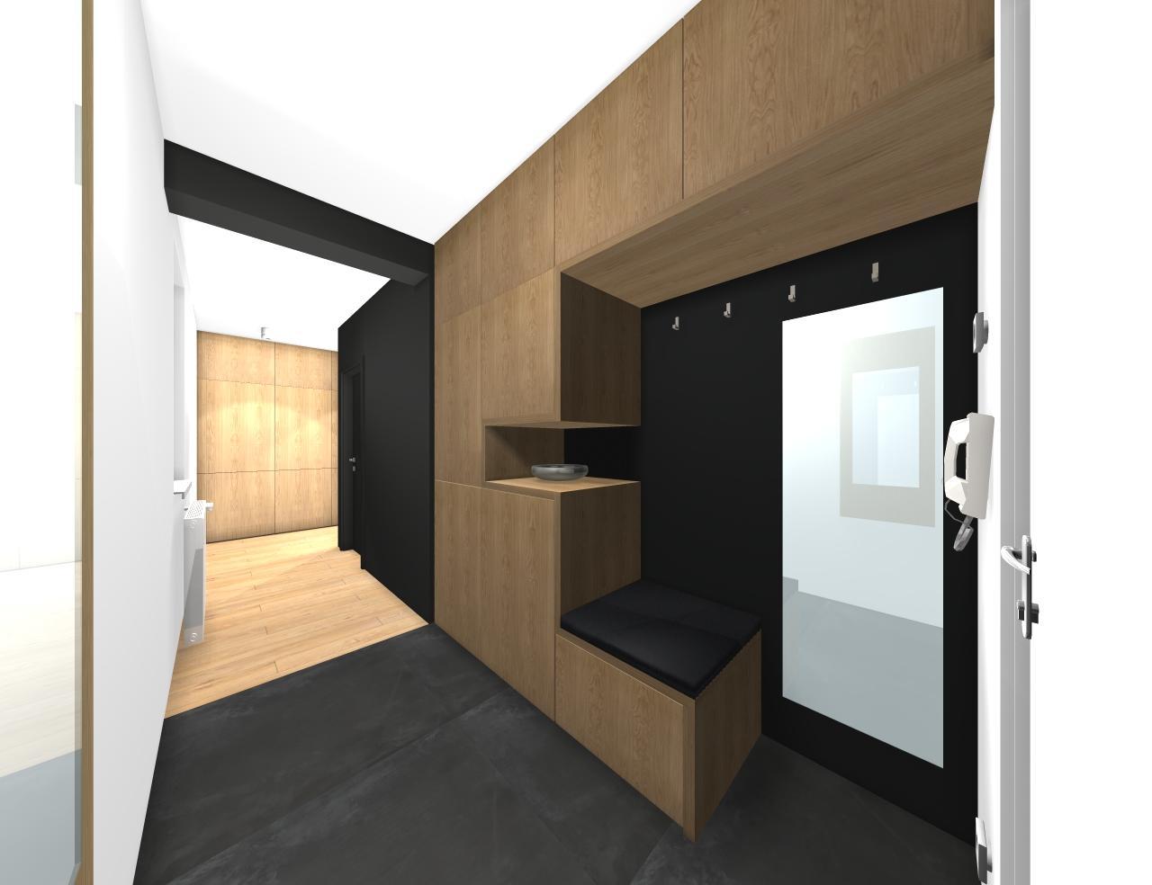 Grafické návrhy bytov - Zariadenie trojizbového bytu v BB - návrh vstupnej chodby - obr.1
