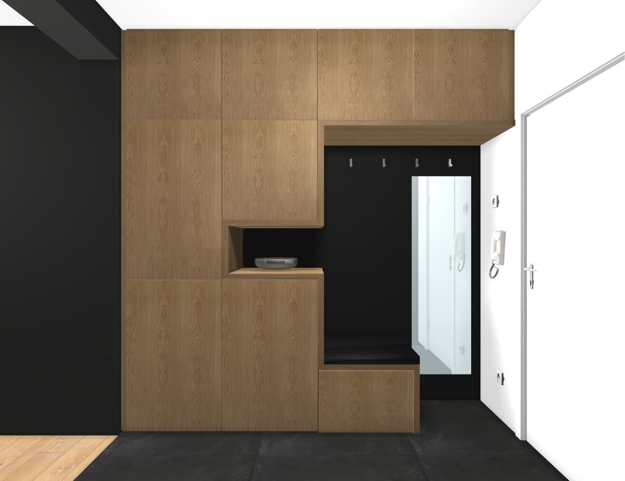 Grafické návrhy bytov - Zariadenie trojizbového bytu v BB - návrh vstupnej chodby - obr.2