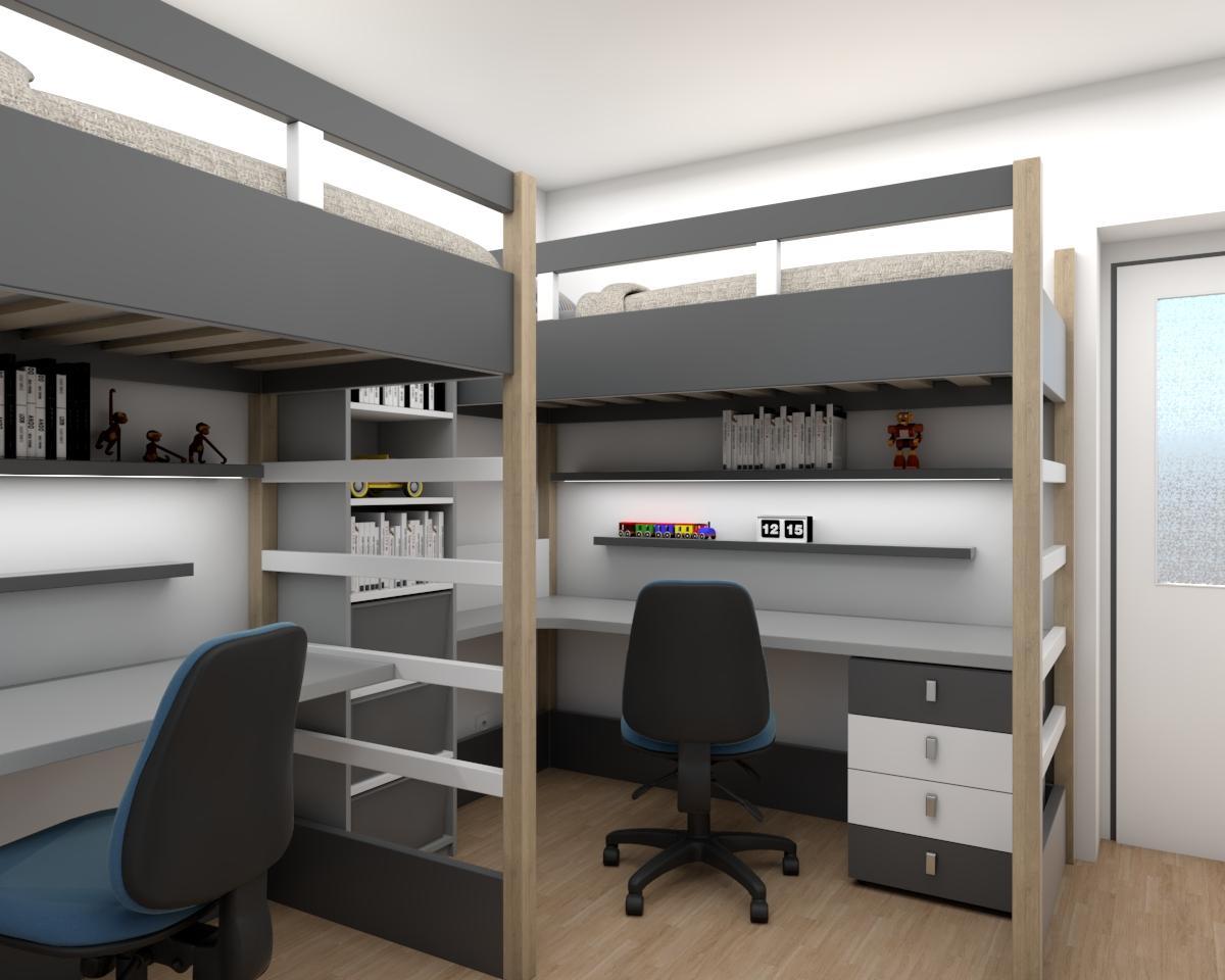 Grafické návrhy interiér 2018 - Grafický návrh študentskej izby v paneláku - obr.1