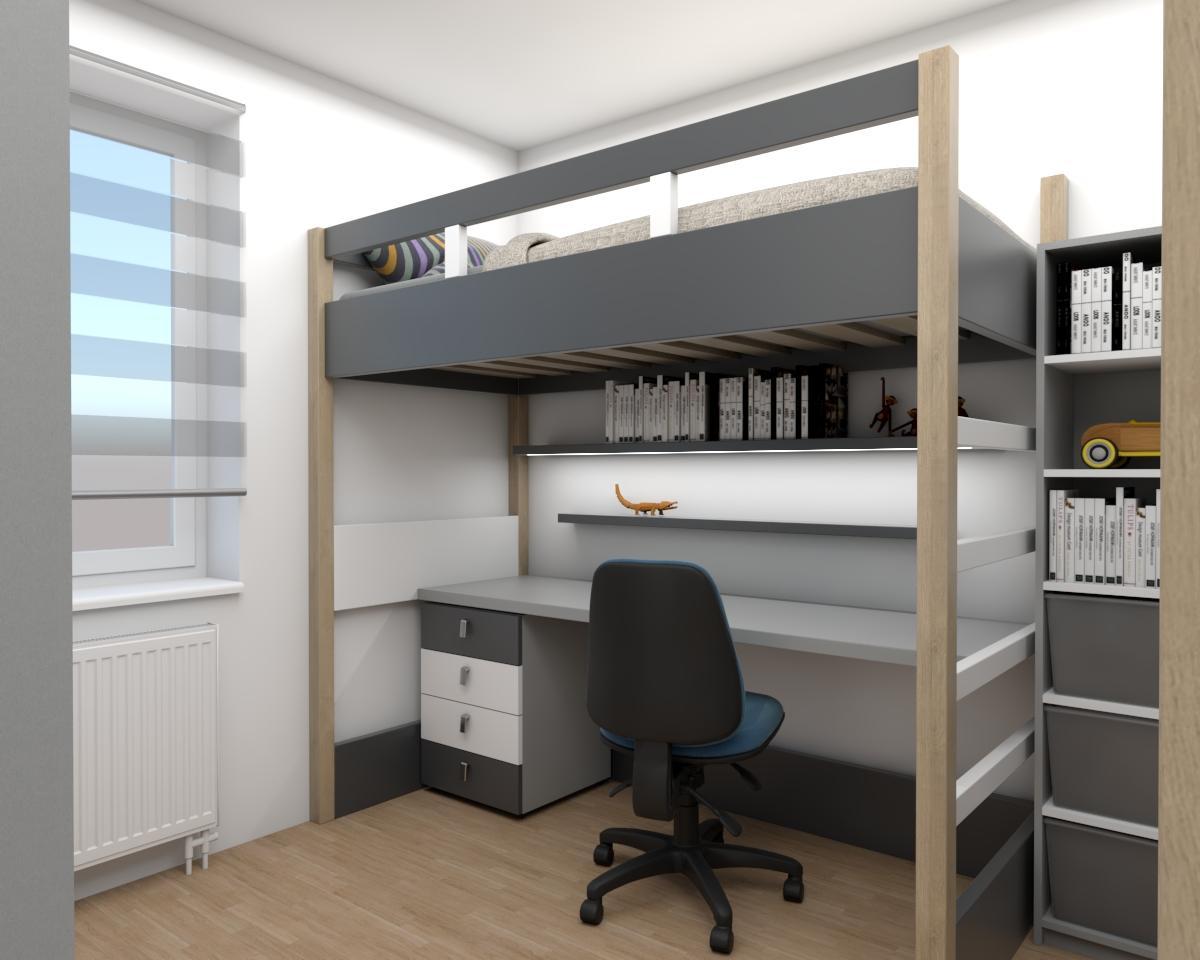 Grafické návrhy interiér 2018 - Grafický návrh študentskej izby v paneláku - obr.2