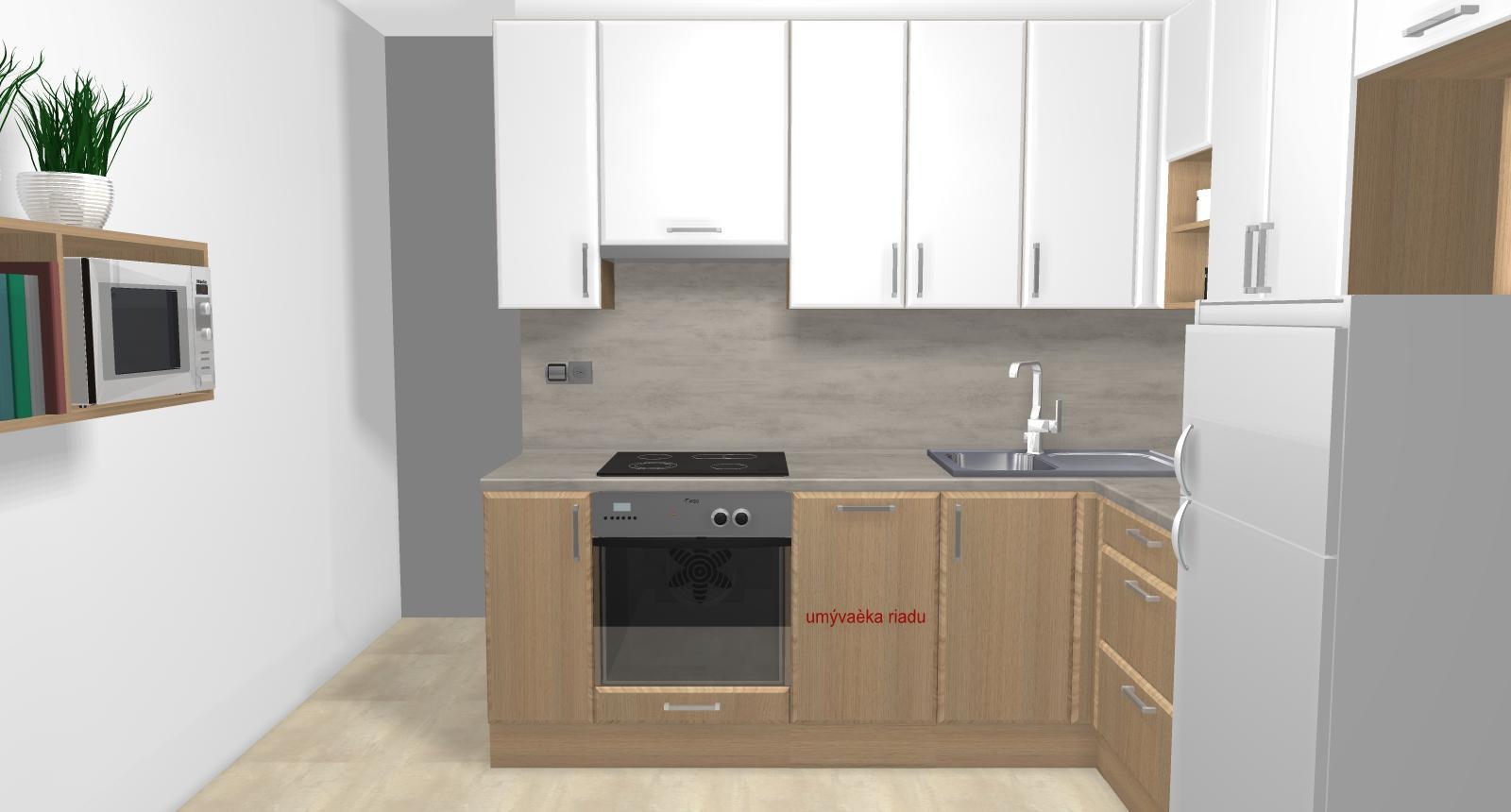 Grafické návrhy kuchynských liniek 2019 - Grafický návrh kuchynskej linky do paneláku v BB verzia 1 - obr.2