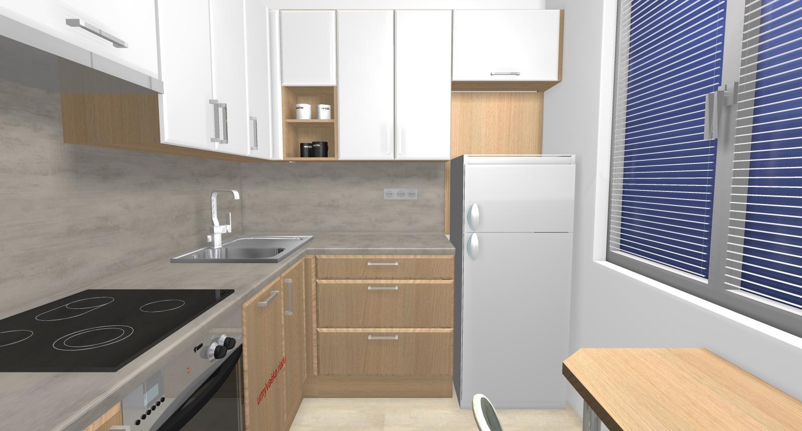 Grafické návrhy kuchynských liniek 2019 - Grafický návrh kuchynskej linky do paneláku v BB verzia 1 - obr.3