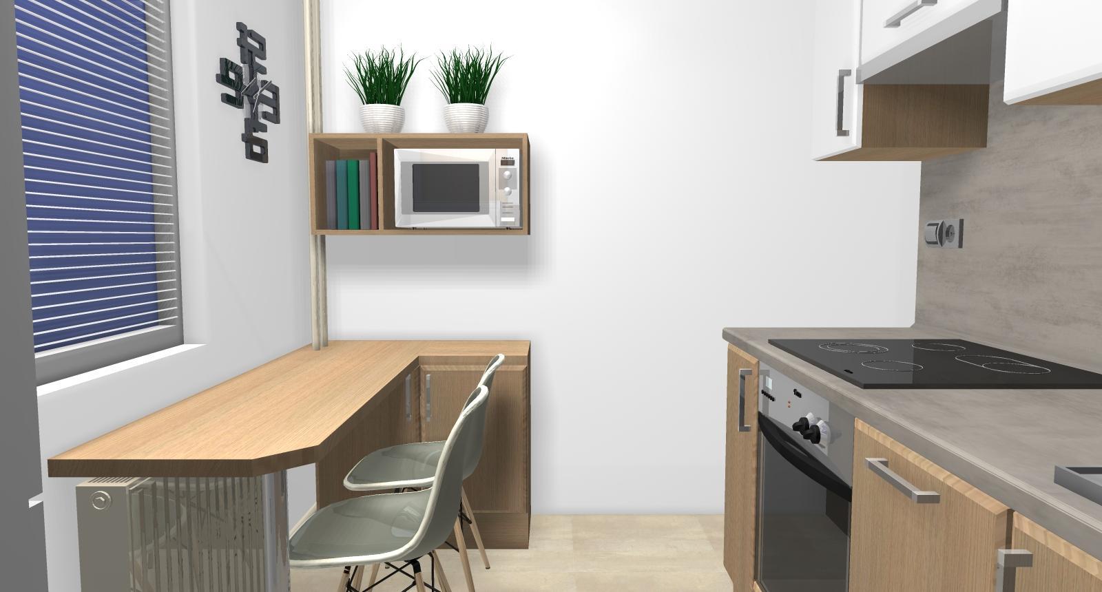Grafické návrhy kuchynských liniek 2019 - Grafický návrh kuchynskej linky do paneláku v BB verzia 1 - obr.5