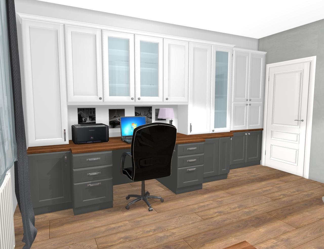Grafické návrhy interiér 2019 - Grafický návrh pracovne do rodinného domu vo vidieckom štýle - obr.1