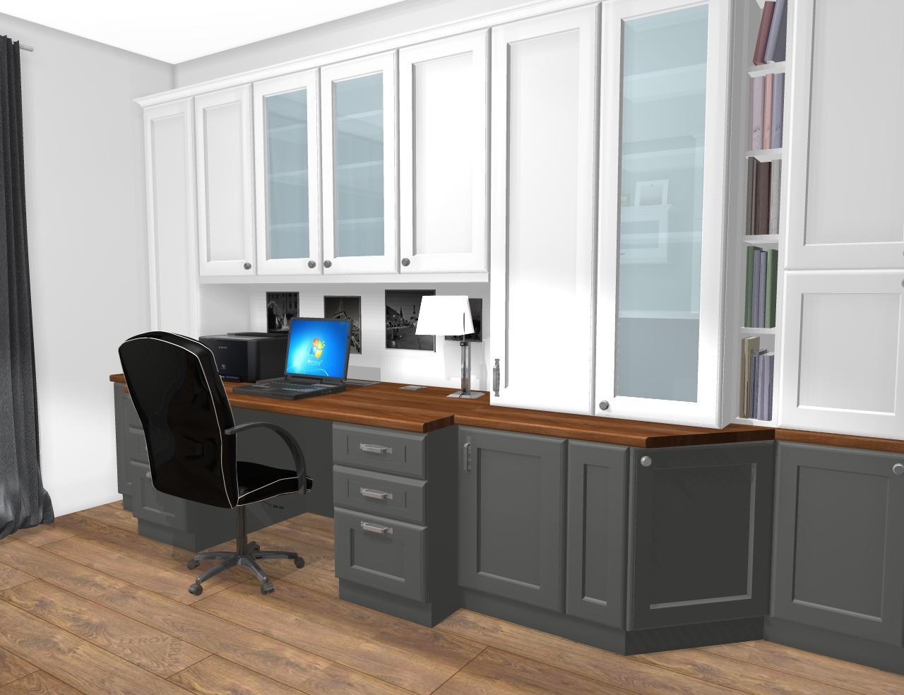 Grafické návrhy interiér 2019 - Grafický návrh pracovne do rodinného domu vo vidieckom štýle - obr.3