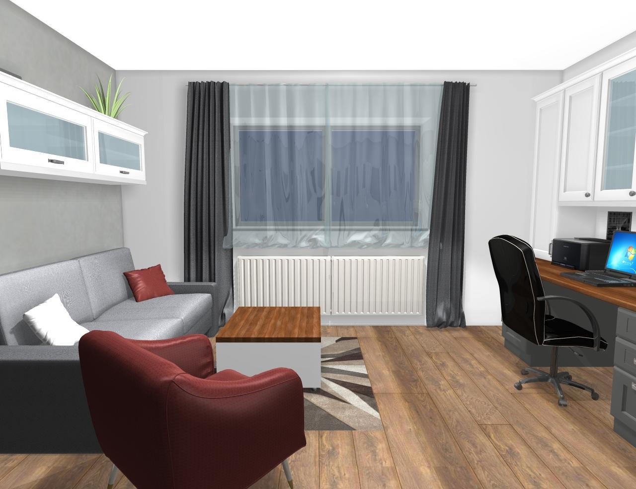 Grafické návrhy interiér 2019 - Grafický návrh pracovne do rodinného domu vo vidieckom štýle - obr.4