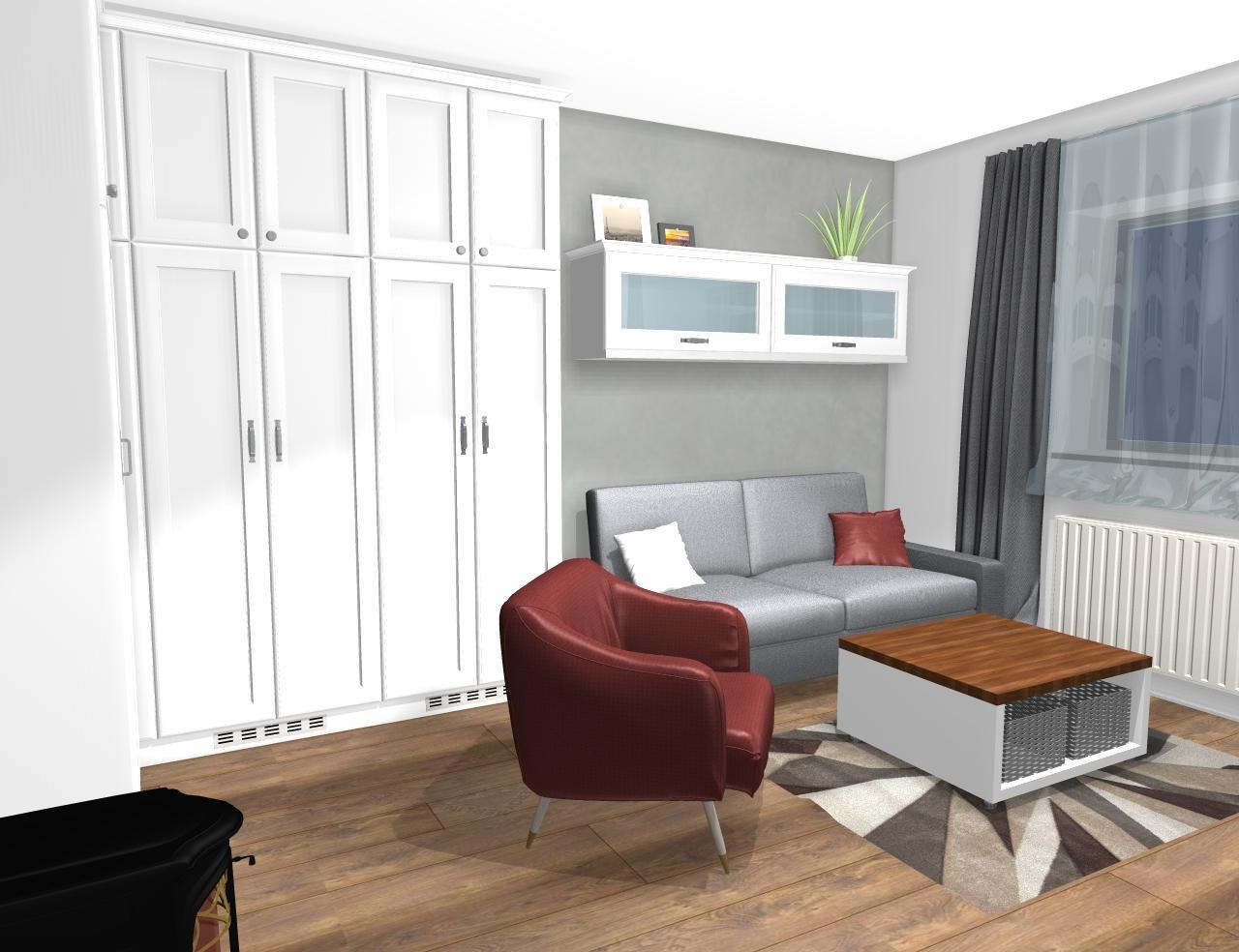 Grafické návrhy interiér 2019 - Grafický návrh pracovne do rodinného domu vo vidieckom štýle - obr.5