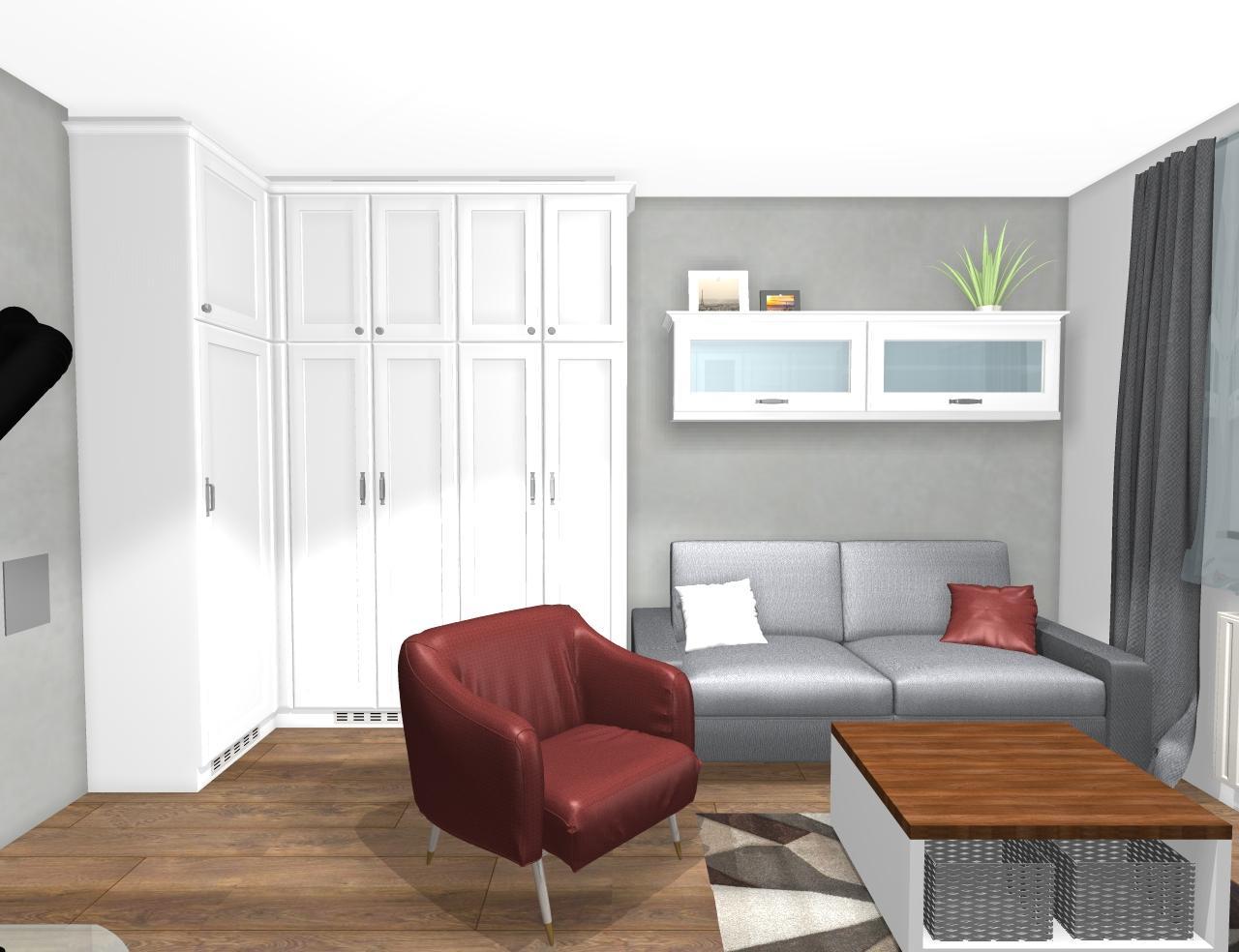 Grafické návrhy interiér 2019 - Grafický návrh pracovne do rodinného domu vo vidieckom štýle - obr.6