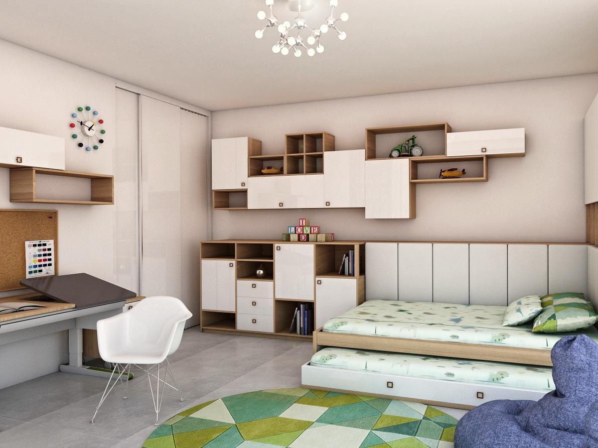 Grafické návrhy interiér 2019 - Grafický návrh detskej izby v rodinnom dome - obr.3
