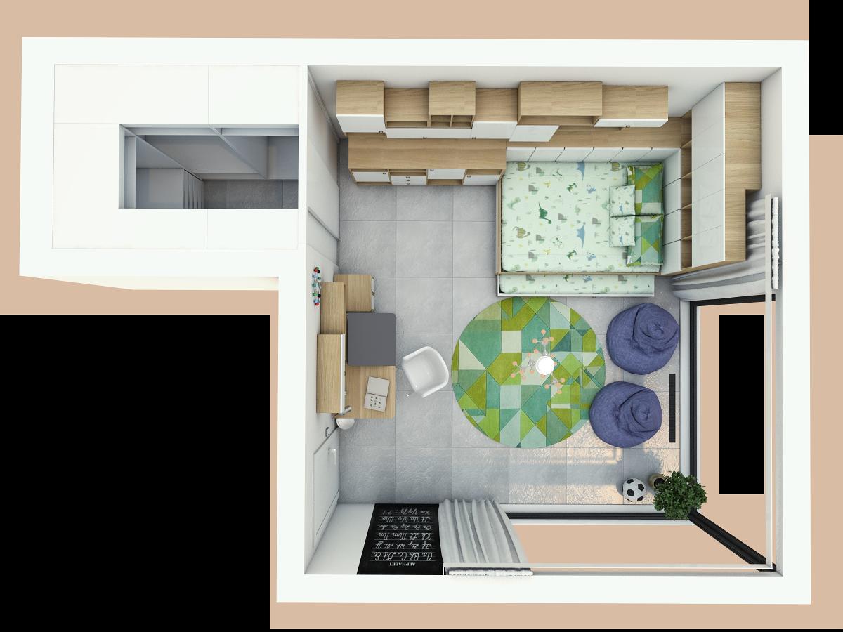 Grafické návrhy interiér 2019 - Grafický návrh detskej izby v rodinnom dome - obr.5