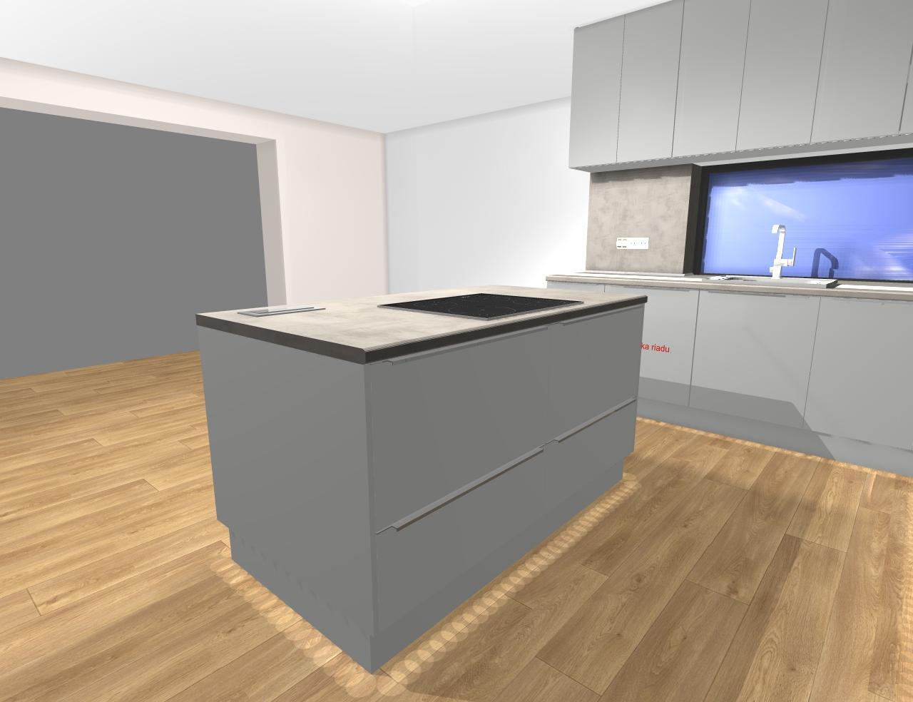 Grafické návrhy kuchynských liniek 2019 - Grafický návrh kuchynskej linky do RD pri Prahe - obr.4