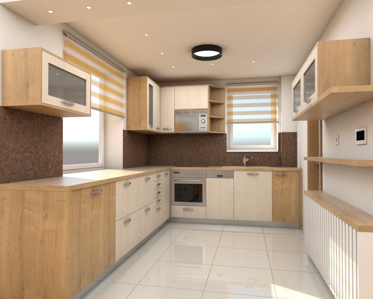 Grafické návrhy interiér 2019 - Grafický návrh zariadenia byt v BB s použitím existujúceho nábytku a nábytku na mieru - kuchyňa