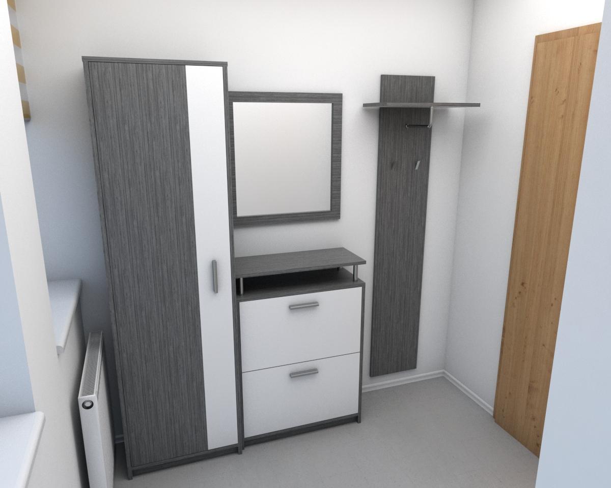 Grafické návrhy interiér 2019 - Grafický návrh zariadenia byt v BB s použitím existujúceho nábytku a nábytku na mieru - vstupná chodba