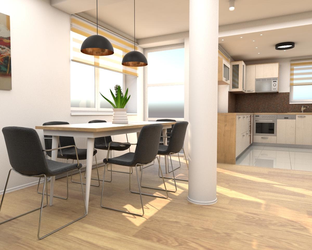 Grafické návrhy interiér 2019 - Grafický návrh zariadenia byt v BB s použitím existujúceho nábytku a nábytku na mieru - kuchyňa a jedálenský kút