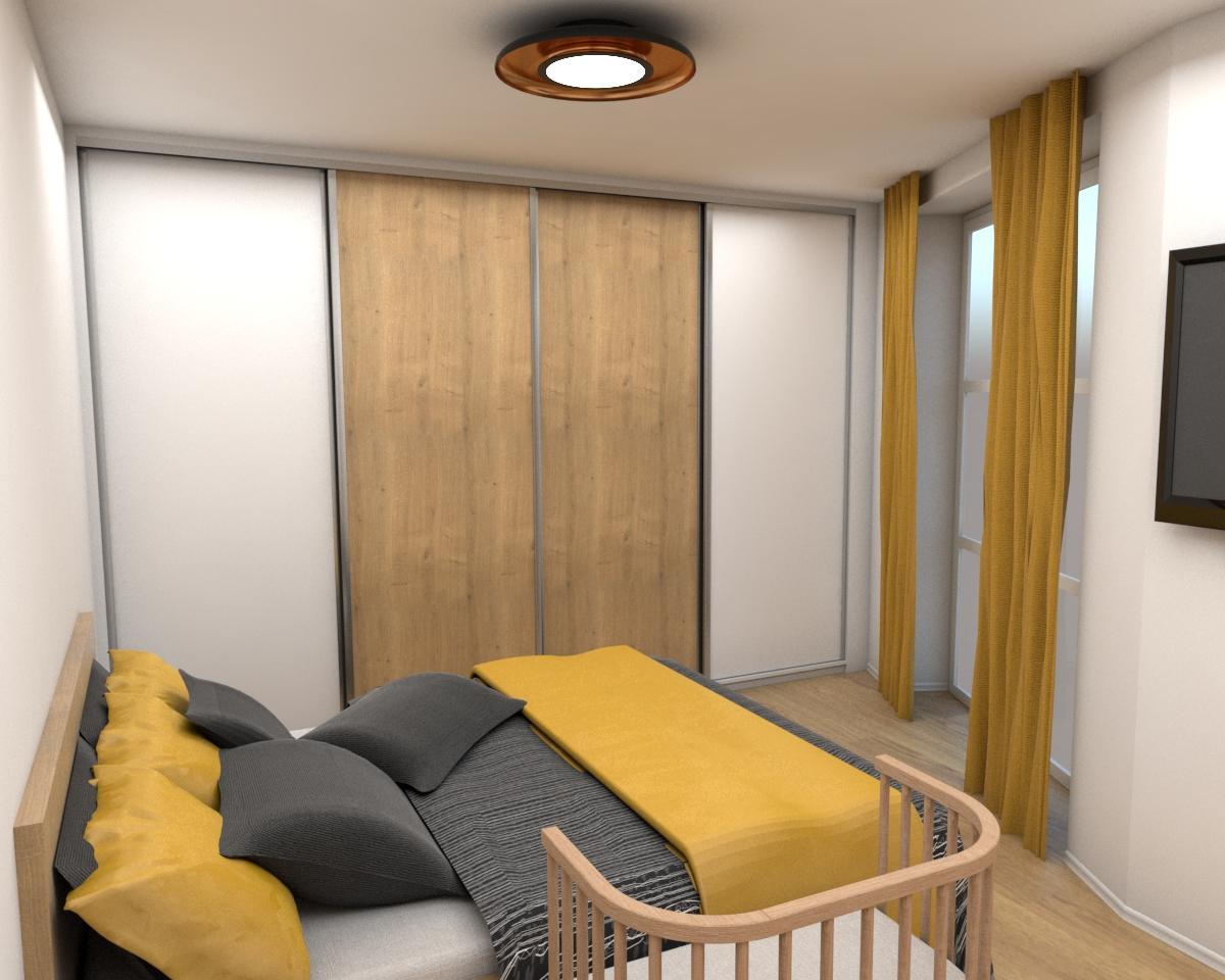 Grafické návrhy interiér 2019 - Grafický návrh zariadenia byt v BB s použitím existujúceho nábytku a nábytku na mieru - spálňa