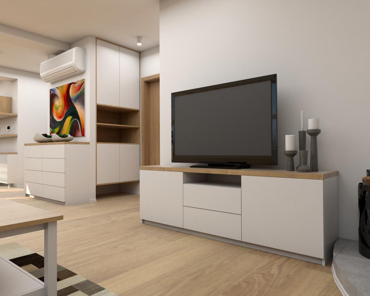Grafické návrhy interiér 2019 - Grafický návrh zariadenia byt v BB s použitím existujúceho nábytku a nábytku na mieru -  obývačka