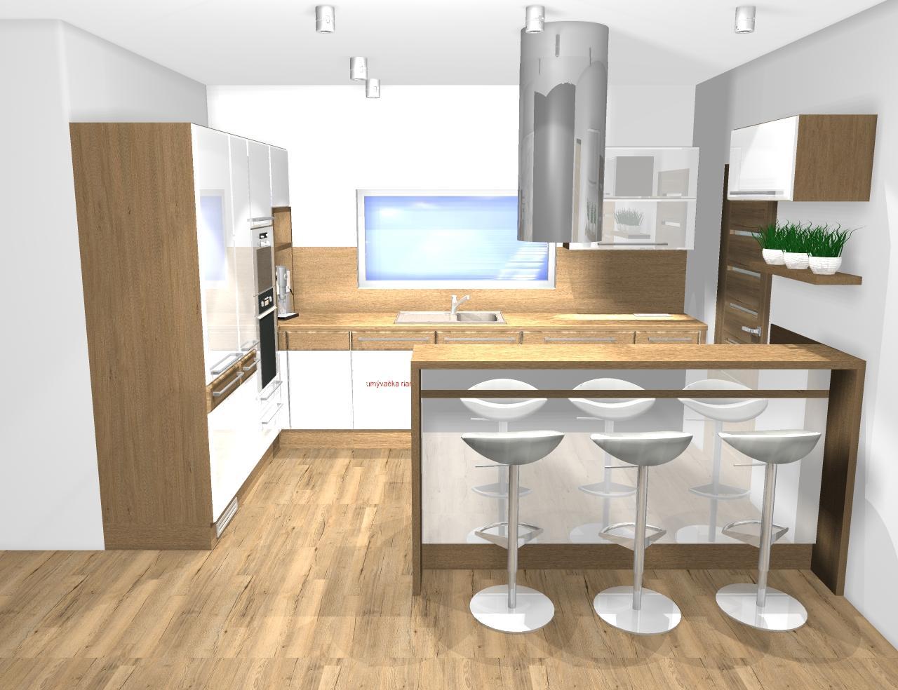 Grafické návrhy kuchynských liniek 2019 - Grafický návrh kuchynskej linky do rodinného domu - obr.1