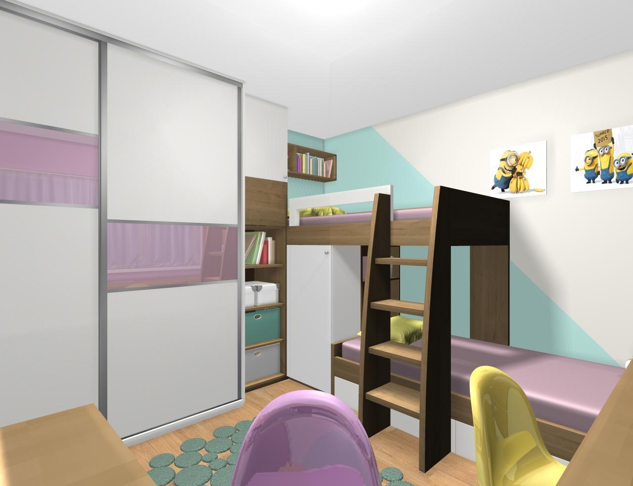 Grafické návrhy interiér 2019 - Grafický návrh detskej izby pre dve dievčatká - verzia 1 - obr.1