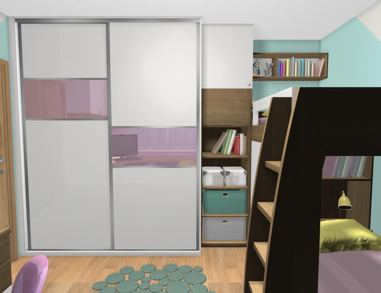 Grafické návrhy interiér 2019 - Grafický návrh detskej izby pre dve dievčatká - verzia 1 - obr.2